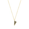Black Diamond Mini Triangle Charm Necklace | Yellow Gold