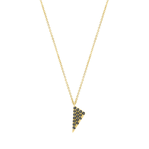 Mini Triangle Charm Necklace | 14K Gold with Black Diamonds