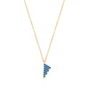 Blue Sapphire Triangle Charm Necklace | Yellow Gold