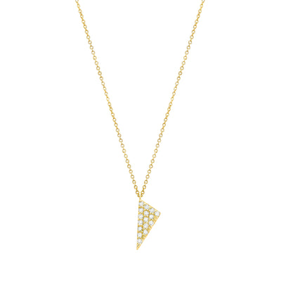 Diamond Mini Triangle Charm Necklace | Yellow Gold