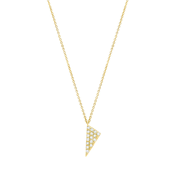 Mini Triangle Charm Necklace | 14K Gold with White Diamonds