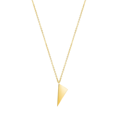 Mini Triangle Charm Necklace | 14K Gold