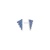 Blue Sapphire Triangle Studs | White Gold