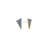 Blue Sapphire Triangle Studs | Yellow Gold