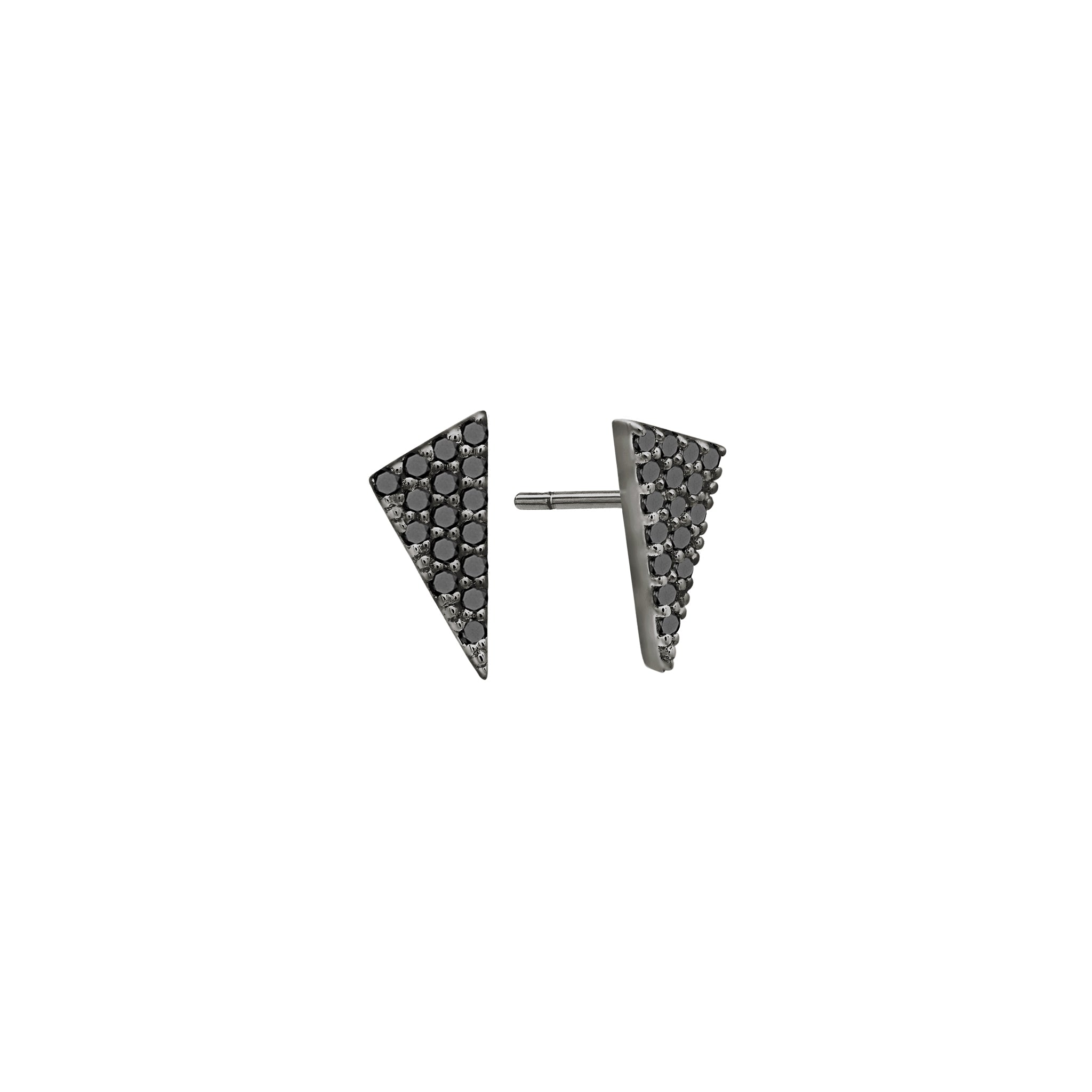 Diamond Triangle Stud Earrings | Black Rhodium with Black Diamonds