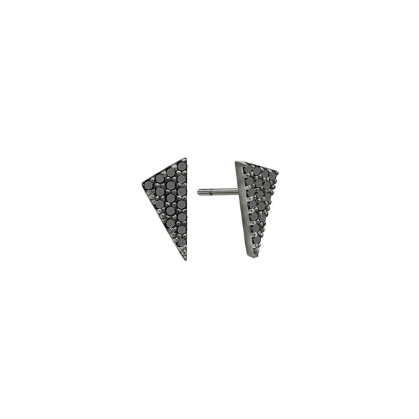 Black Diamond Mini Triangle Studs | Black Gold