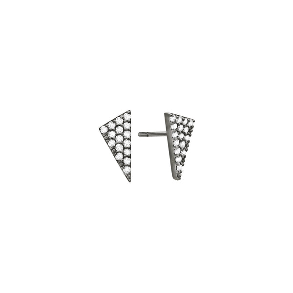Diamond Triangle Stud Earrings | Black Rhodium with White Diamonds