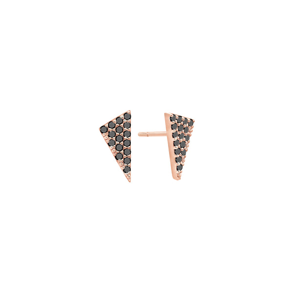 Diamond Triangle Stud Earrings | Rose Gold with Black Diamonds
