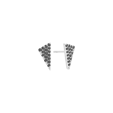 Diamond Triangle Stud Earrings | White Gold with Black Diamonds
