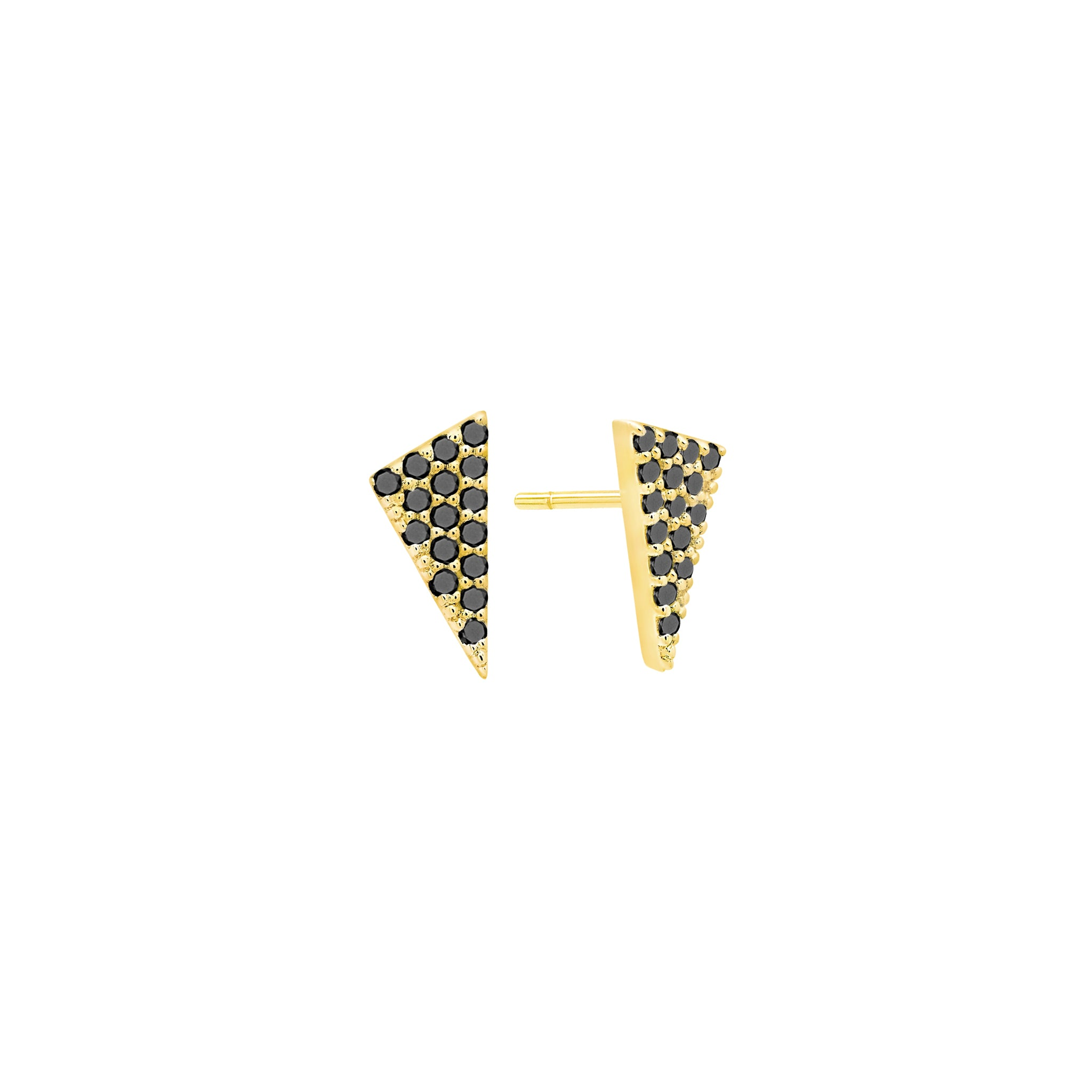 Diamond Triangle Stud Earrings | Gold with Black Diamonds
