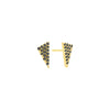 Black Diamond Triangle Studs | Yellow Gold