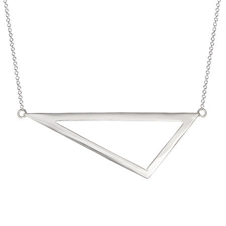 Triangle Necklace | 14K White Gold