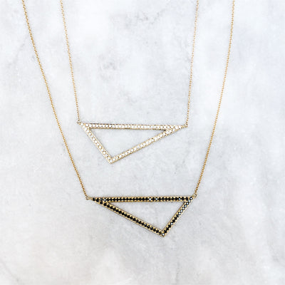 Large Black Diamond Triangle Necklace | Yellow Gold
