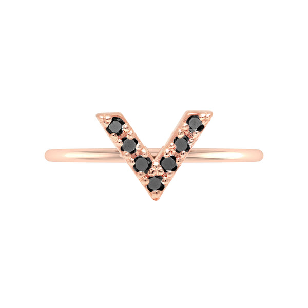 V Geo Stacker | Rose Gold with Black Diamonds