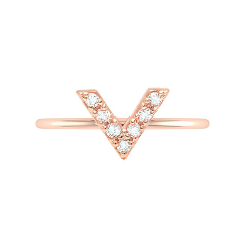 V Geo Stacker | Rose Gold with White Diamonds