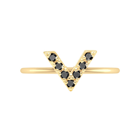 V Geo Stacker | Yellow Gold with Black Diamonds