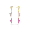 3 Tiered Multicolor Pave Flag Earrings | Yellow and Rose Gold