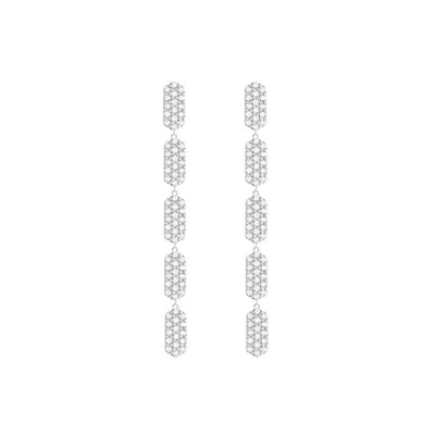 5 Tiered All Diamond Marquis Earrings | White Gold