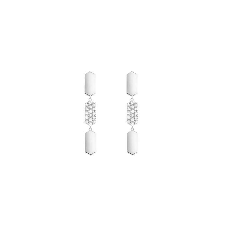 3 Tiered Diamond Center Marquis Earrings | White Gold