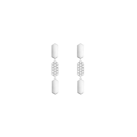 3 Tier Diamond Drop Marquis Earrings | White Gold