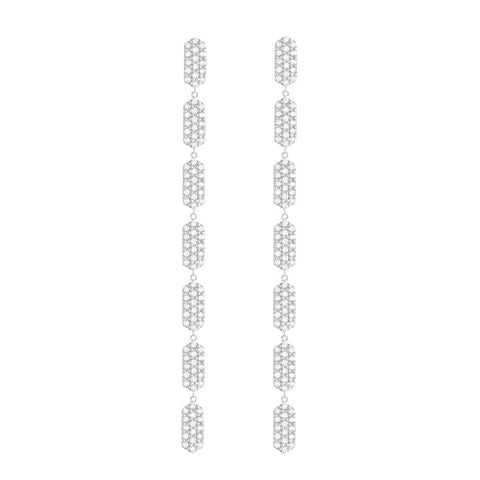 7 Tiered All Diamond Drop Marquis Earrings | White Gold