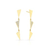 3 Tiered Diamond Center Flag Earrings | Yellow Gold