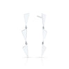 3 Tiered Flag Earrings | White Gold
