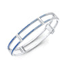 Locking Cage Bracelet | White Gold with Ombre Blue Sapphires on Lateral Bars