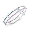 Locking Cage Bracelet | White Gold with Ombre Blue and Pink Sapphires on Lateral Bars