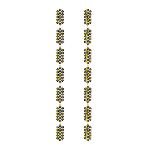 All Diamond 7 Tier Marquis Dangle Earrings | Yellow Gold with Black Diamonds