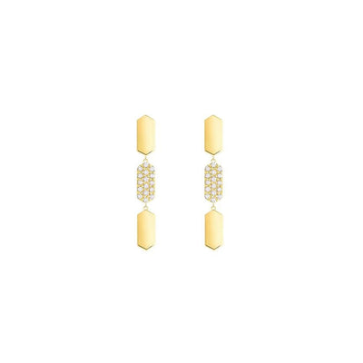 3 Tiered Diamond Center Marquis Earrings | Yellow Gold