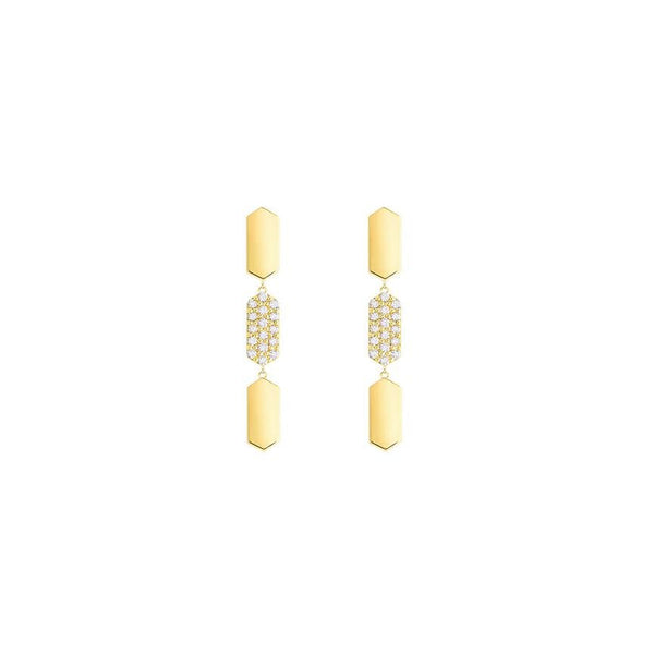 3 Tier Diamond Drop Marquis Earrings | Yellow Gold