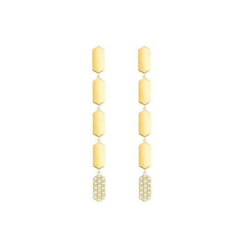 5 Tier Diamond Drop Marquis Earrings | Yellow Gold