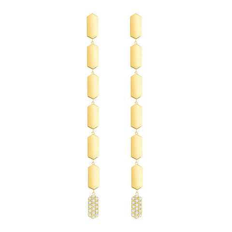 7 Tier Diamond Drop Marquis Earrings | Yellow Gold
