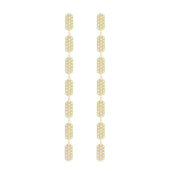All Diamond 7 Tier Marquis Dangle Earrings | Yellow Gold