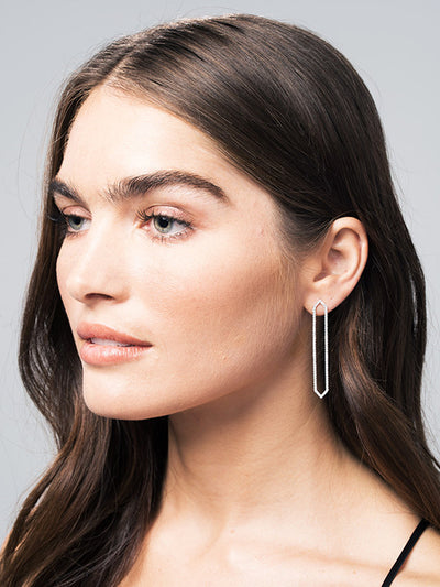 All Diamond Long Marquis Earrings | White Gold