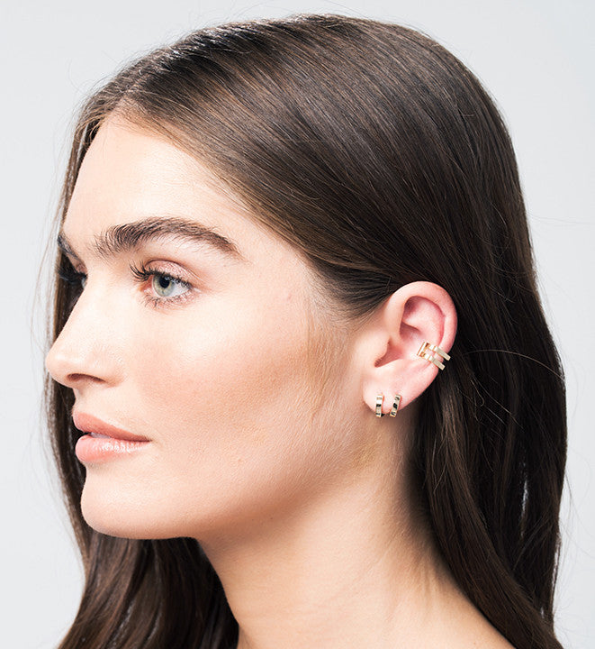 Double Cage Ear Cuff | 14K White Gold