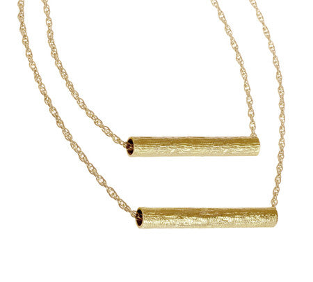 Double Tube - Long | Gold Plated Brass