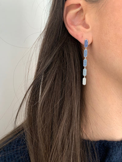 5 Tiered Ombre Blue Sapphire and Diamond Marquis Earrings | White Gold