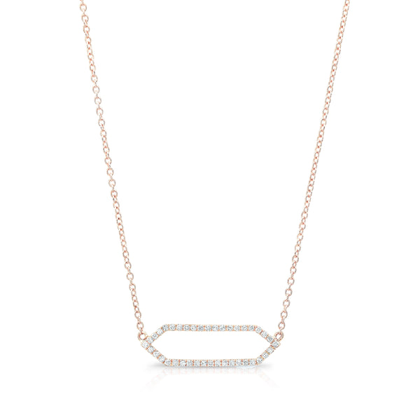 All Diamond Mini Marquis Necklace | 14K Rose Gold with White Diamonds