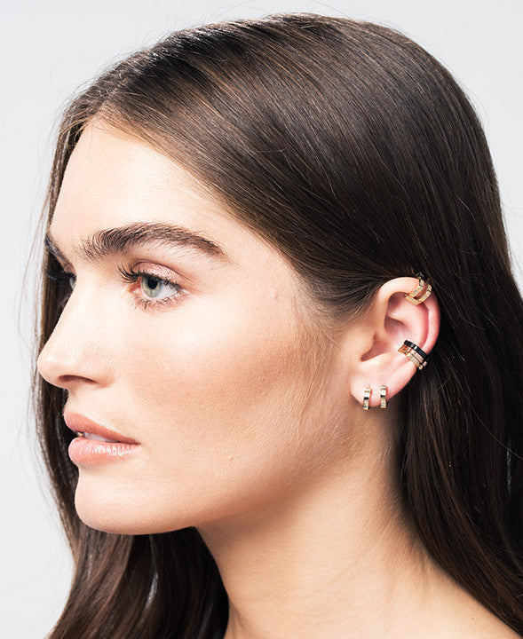 Single Cage Ear Cuff | 14K Black Gold