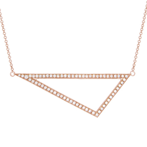 Diamond Triangle Necklace | 14K Rose Gold