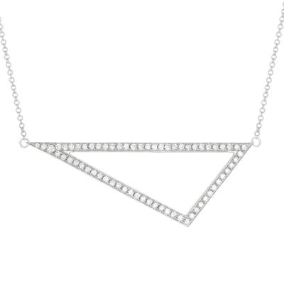 Large Diamond Triangle Necklace | White Gold