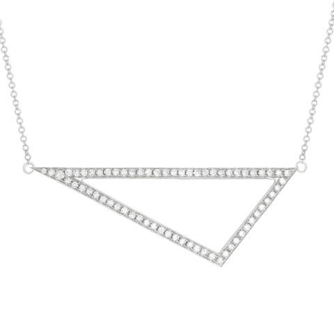 Diamond Triangle Necklace | 14K White Gold