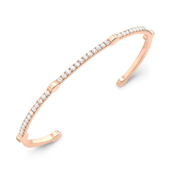 Open Gear Bangle | Rose Gold with White Diamonds