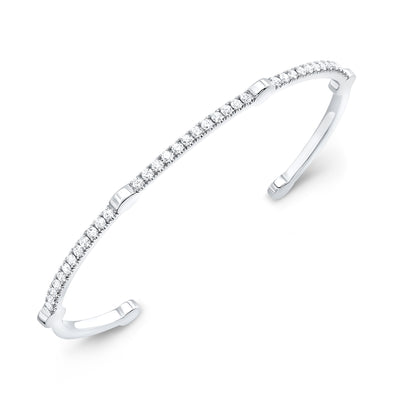 Diamond Open Gear Bangle | White Gold