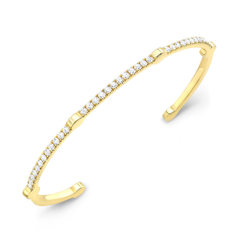 Open Gear Bangle | Yellow Gold with White Diamonds