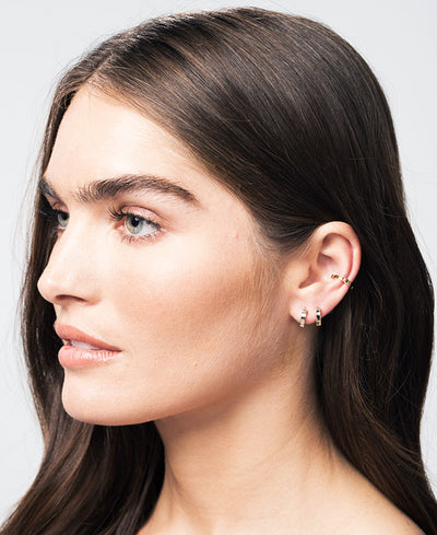 Black Diamond Single Cage Ear Cuff | Black Gold