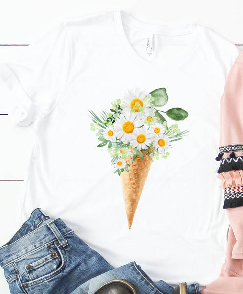 Floral Ice Cream Cone - Style 3