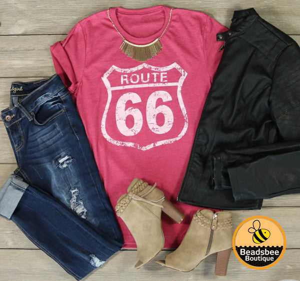 Route 66 Tee - Heather Red